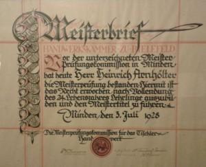 Meisterbrief Opa 1928 kl
