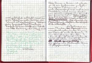 Notizbuch gestrichener Abschnitt