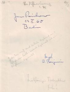 Adorno JR Berlin Notiz
