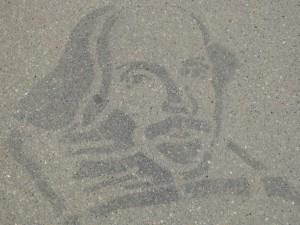 Shakespeare Portrait auf Asphalt