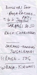 Ragas Dhruba handgeschrieben