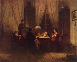 Familie unter Lampe Rumpf