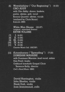 Oboade bei Kronos Quartet