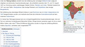 Screenshot Wiki Teilung Indiens