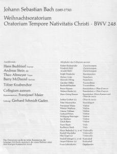 WeihnachtsOratorium 1973 Mitwirk