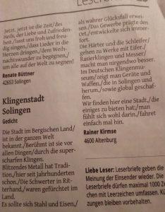 Solinger Tageblatt Leser-Gedicht
