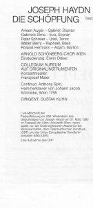 Haydn Schöpfung Mitwirkende a
